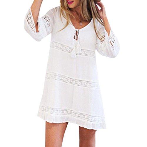 Damen Sommerkleider Knielang Bohemian Tunika Strandkleider Rundhals 3/4-Arm Minikleider Tunikakleid Damen Beachwear Weiß Longbluse Longshirt Blusenkleider Shirtkleider (White, XL)