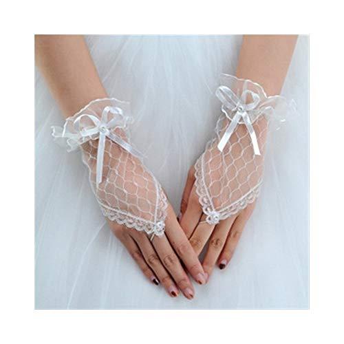 Ywlanlantrading Handschuh 1 para Mesh Handschuhe Fingerlose Kurze Handschuhe Spitze Mesh Handschuhe für Frauen Braut Hochzeit Handschuhe Party Phantasie Kostüme (Color : White)
