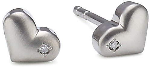 Boccia - Pendientes de titanio con diamante (.01) con cierre de mariposa a presión