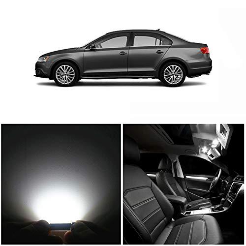 WLJH Kit d'éclairage intérieur de voiture 9 pièces Canbus T10 W5W C5W pour Jetta VI MK6 Berline 2011-2018
