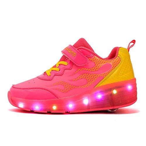 JDream LED leuchtet Turnschuh Training Skate blinkende Schuhe Rosa