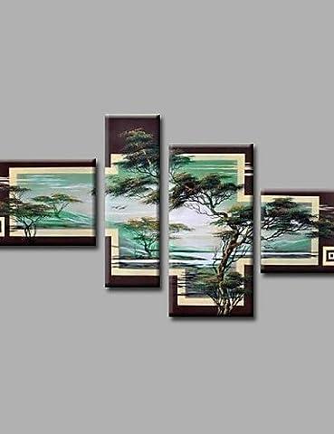 OFLADYH ® bereit, gestreckten handgemalte Ölgemäldesegeltuchwandkunst Waldbäumen moderne vier Tafeln