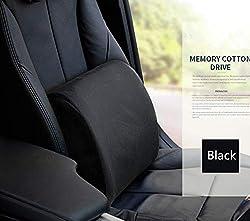 Ecloud Shop® Rückenkissen Memory Foam Lordosenstütze mit verstellbarem Gurt, lindern Rückenschmerzen Kissen geeignet für Bürostuhl-schwarz