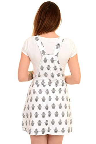 Run & Fly Ladies Retro Indie White Stretch Twill Hand of Fatima Pinafore Dress