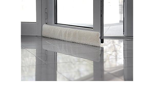 Emanhu Trading Schurwoll-Zugluftstopper Fenster 100-150 cm//Schurwoll-Zugluftstopper T/ür 80-100 cm selbstklebendes Klettband Anthrazit, T/ür 80 cm