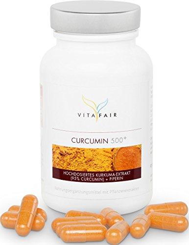 Curcumin 500mg | Curcuma Kapseln (Kurkuma) hochdosiert mit 95% Curuminoide und Piperin | 90 Kapseln | Vegan | Ohne Magnesiumstearat | Made in Germany