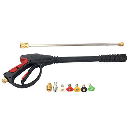 FreeTec Hochdruck Spritz Pistole Sprühlanze Hochdruckreiniger Lanze M22 Adapter mit 5 Düsen, 2100 PSI