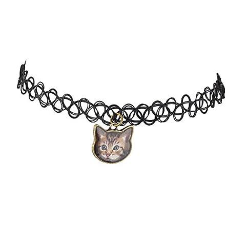 Lux Accessoires Noir Tattoo Graphic Cat Chaton Meow Collier ras du cou