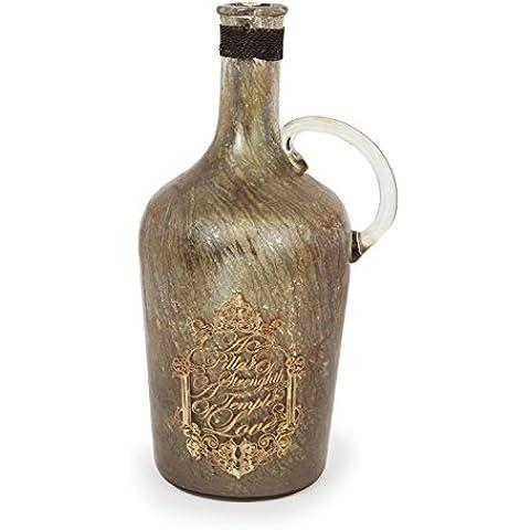 Store Indya, Hecho a mano de cristal soplado de botellas Horizontal acanalado Diseno espiral pieza de epoca sobre la mesa de accesorios Decoracion