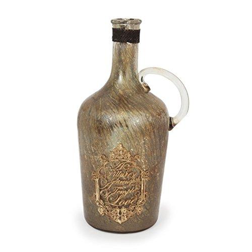 Store Indya, Vetro a mano Colpo bottiglia orizzontale a coste spirale design vintage Pezzo Table Top accessori per la casa