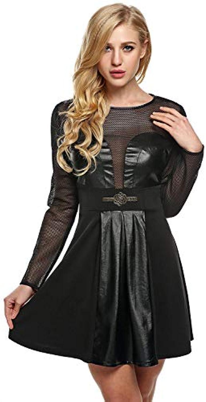 ... Mini Collo Vestiti Donna Elegante Manica Lunga rossoondo Collo Mini  Pelle Cucitura Abiti da Sera Mode Dalmard Marine - T-shirt ... d10d9198c51