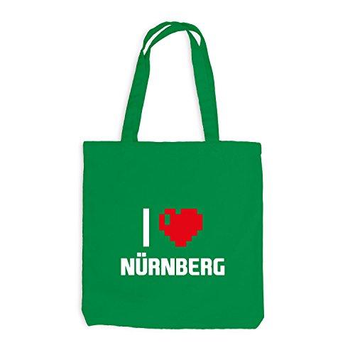 Jutebeutel - I Love Nuernberg - Deutschland Reisen Herz Heart Pixel Kellygrün
