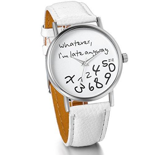 JewelryWe Damen Mädchen Armbanduhr, Whatever I\'m Late Anyway Liebhaber Geschenk Analog Quarz Leder Armband Uhr mit Weißem Zifferblatt, Weiss