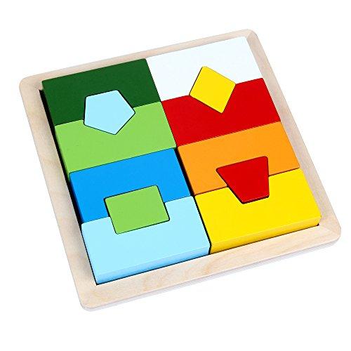 B&Julian Geometrisch Holz Steckpuzzle Steckspiel Holzpuzzle Einlegepuzzle Formenmix für Kinder ab 1 Jahre