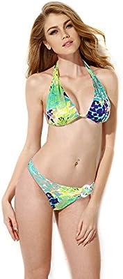 ELSA & ANNA® Mejor Calidad Último Estilo Señoras Mujer Cabestro Bandeau 2 Piezas Bikinis Conjuntos Trajes de baño Natación Disfraz Monokini ES-SWM-GRN403