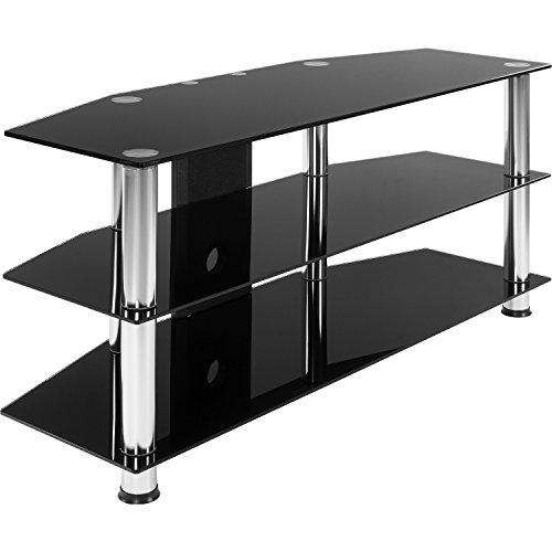 s Tisch, 110 x 50 x 40 cm, 8 mm Sicherheitsglas, Aluminium Tubes, Fernsehtisch, Regal ()