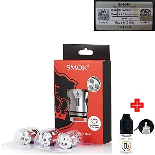 [✅100% ORIGINALPRODUKT✅] 3er Pack Verdampferköpfe SMOK TFV12 V12 Prince Triple Mesh 0.15 ohm (80-130W) coils + 1 FREI eliquid leere Flasche 5ml DansLesVapes [OHNE NIKOTIN, OHNE TABAK](V12P-TPLmsh-015) -