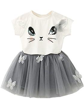 PJPYIF Niñas de Manga corta Camiseta de impresión de gato + falda de tutú Conjunto