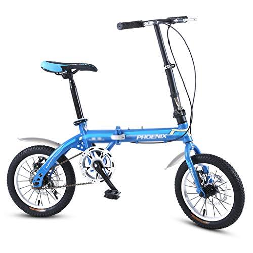"""Fahrrad Klapprad Einzelne Geschwindigkeit Fahrrad Stadt Fahrrad Kinder Fahrrad Kohlenstoffstahl Rahmen, 14\"""", Sitz Lenker Höhenverstellbar (Color : Blue, Size : 14inches)"""