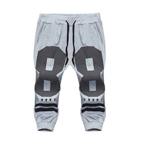 GreatestPAK Sommer Shorts Herren Muscle Pants Slacks Sport Sweatpants Jogginghose Hosen,Grau2,XL Short-throw-arm