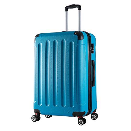 WOLTU RK4203ts, Reise Koffer Trolley Hartschale Volumen erweiterbar, Reisekoffer Hartschalenkoffer 4 Rollen, M/L/XL/Set, leicht und günstig, Türkis (XL, 76 cm & 110 Liter)