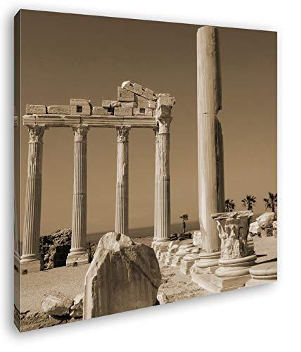 deyoli antikes Tempel Bauwerk in Türkei im Format: 70x70 Effekt: Sepia als Leinwandbild, Motiv auf Echtholzrahmen, Hochwertiger Digitaldruck mit Rahmen, Kein Poster oder Plakat