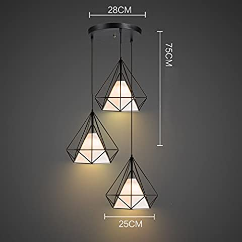 Sala de estar minimalista moderna lámpara de mesa retro del café de la barra del restaurante araña de hierro forjado la personalidad creativa de diamantes jaula de pájaros araña de tres (14 colores opcionales) ( Color : B3