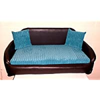 Zippy Faux Leather Sofa Pet Dog Bed - Extra Large - Brown & Blue Jumbo Cord