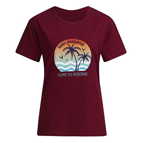CUTUDE Bluse Sommer Damen Freizeit Tree Brief Druck Kurzarm T-Shirt Tops (Wein, Medium)