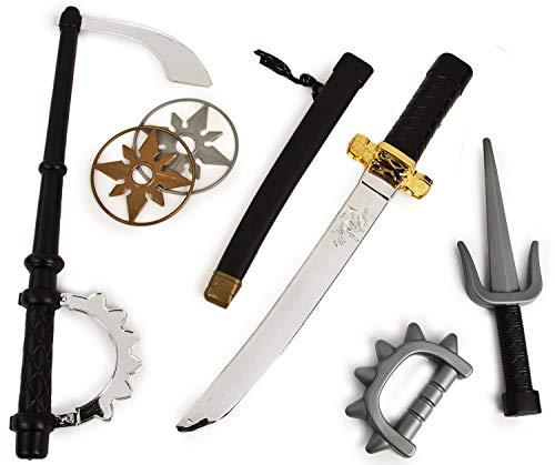 Ninja-Schwert Set Katana Samurai-Schwert Dolch Shuriken Krieger Ninja-KostümSäbel Verkleidung ()