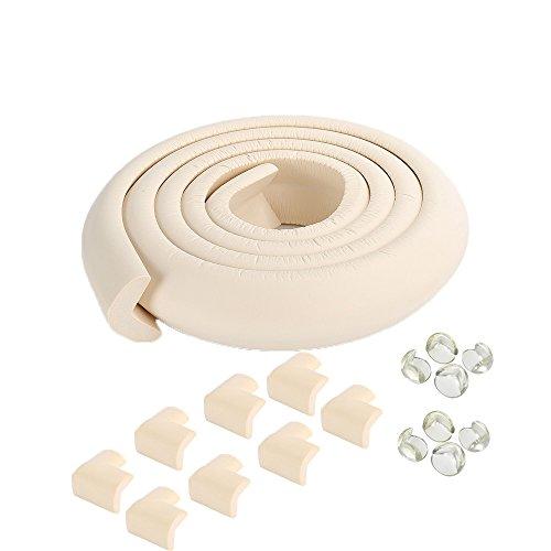 SafeBaby y de seguridad para niños Set 6.5 pies. 16 Esquinas Guardia bebé borde de pruebas. paragolpes protector transparente para muebles. tira de espuma del cojín del amortiguador chimenea de ladrillo a prueba de niños de guardia para los niños pequeños (blanco)