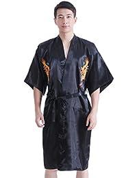 JTC Hommes Pyjama Vêtement de Nuit/de Chambre Kimono Peignoir Bordé Dragon Oriental,en Satin-7 Couleurs