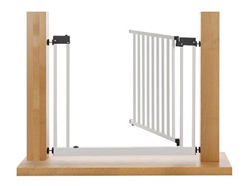 Impag XXL Türschutzgitter Treppenschutzgitter 95 – 143 cm mit extrabreiter Komfort-Tür selbstschließend – zum Klemmen Weiß - 3