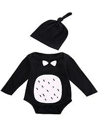 Monos Bebé,Switchali Recién nacido Infantil Bebé niños Impresión Manga larga verano Algodón Mameluco Mono niñas 2 piezas linda arco Romper +Sombrero ropa barato gran venta
