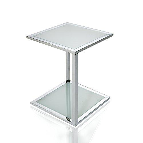 Invicta Interior Cubetto Funktionaler Beistelltisch frosted Glas chrom 40 cm (Frosted Glas Couchtisch)