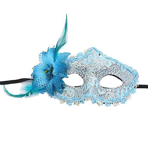 Yazilind Masquerade Maske Venezianische Maske Maskenball Masken Karneval Party Ball Gesicht Augenmaske(Blau)