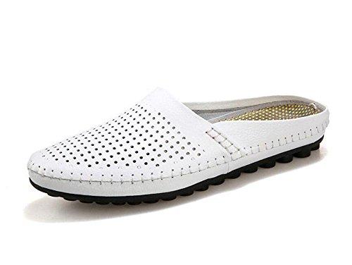 Men Open Back Slippers Sommer Casual Schuhe Erbsen Schuhe Leder Kopf Soft Leder Cool Slippers Lazy Halbe Hausschuhe White