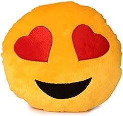 Deals India Yellow Heart Eyes Smiley Cushion, Yellow