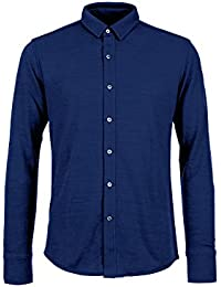 super.natural Herren M Waterfront Piquet Shirt Merino-Hemd