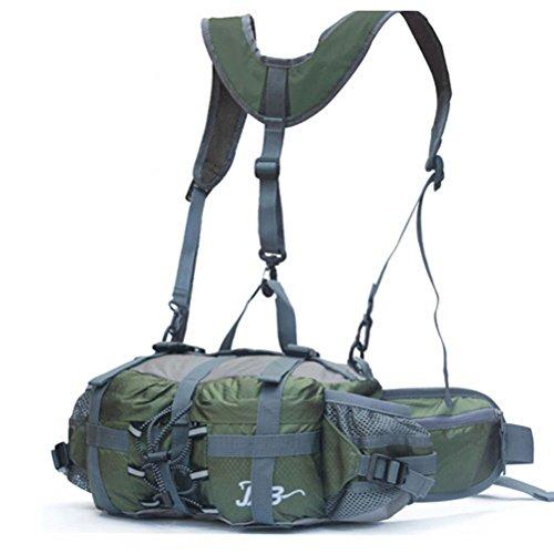 Outdoor peak Unisex Nylon Wasserabweisende Gürteltasche Reiserucksack Messenger Bag Reiserucksack Bauchtasche Sporttasche Fahrrad Bergsteigen Trekking plus Schultergurt Armee grün