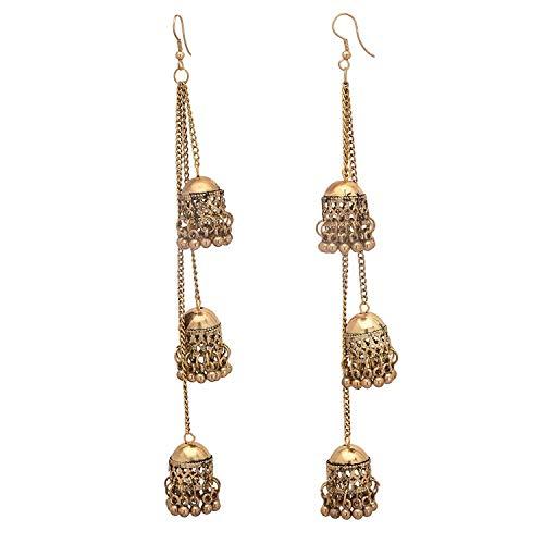 Designer Afghani Kashmiri Tribal Oxidized Dangle Long Earrings for Women and Girls (Gold)