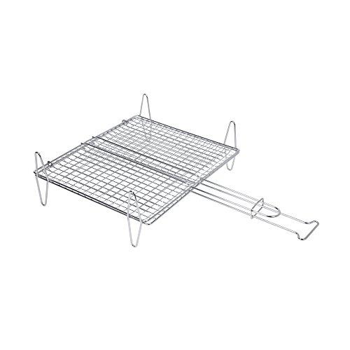 Sauvic 02597-Fischgrillrost, aus 304 Edelstahl, 40 x 45 cm. 5-fuß-stahl-stab