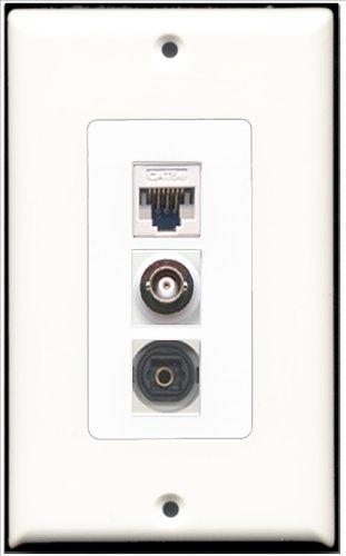 RiteAV-1Port Toslink und 1Port BNC und 1Port Cat-5e Ethernet White Decora Wall Plate Decora Decora Insert Plate