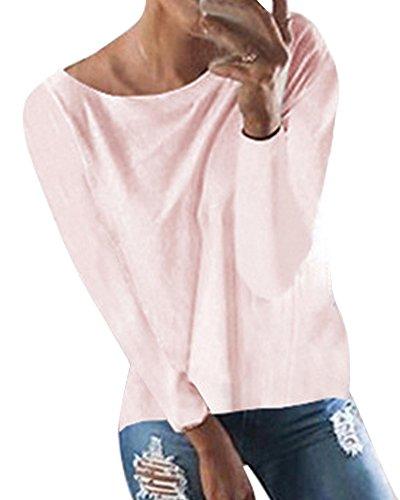 Minetom Femme Tops à Manches Longues Col Rond Dos Nu Elegant Chemisiers et Blouses Hauts pink