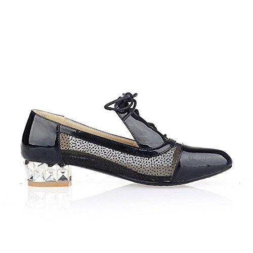 VogueZone009 Femme Matière Mélangee Lacet Fermeture DOrteil Pointu à Talon Bas Chaussures Légeres Noir