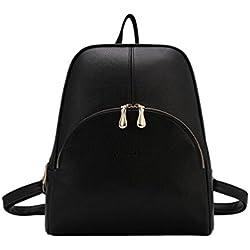 YAANCUN Mujeres Pu Cuero Backpack Mochilas Escolares Mochila Escolar Casual Bolsa Viaje Moda Lindo Negro