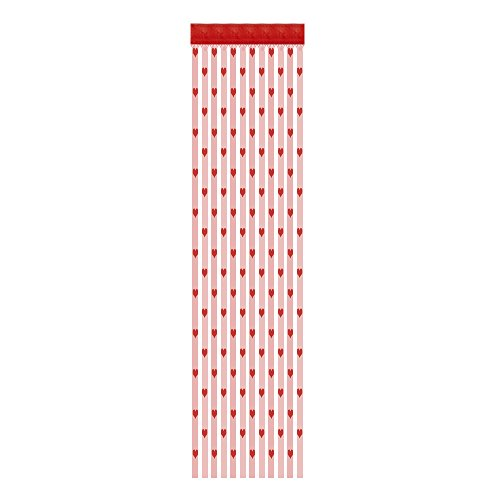 Trada Romantische Schiere Fenstervorhang, 50x200 cm Liebe Herz String Vorhang Fenster Tür Teiler Sheer Vorhang Valance Vorhang Tüll,Voile Tüll Vorhang Schlaufen Transparent (Rot) -