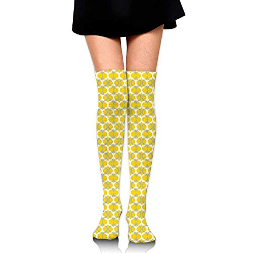 OQUYCZ Woman's Abstract Vibrant Lines and Ogee Pattern Geometrical Arrangement Ethnic Motif Breathable High Boot Socks