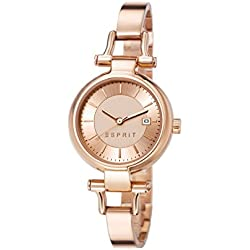 Esprit Womens Quartz Watch with Rose Gold Dial Analogue Classic and Rose Gold Stainless Steel Strap