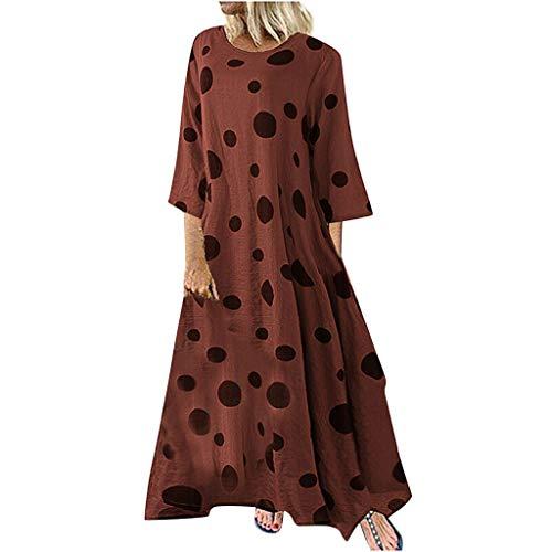 Damen Kleider Sommer O Ausschnitt Lange Ärmel Sexy Strandkleid Jeanskleid Kleid Große Größe Kleid Polyester Bohemien Bedruckt Partykleid Lockeres Swing-Kleid (EU:44, Rot)